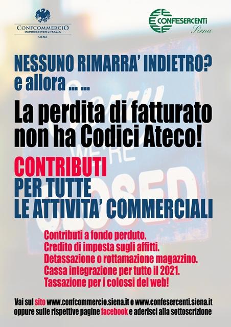 """Confesercenti e Confcommercio Siena: entra oggi nella fase 2 la petizione """"Nessuno rimarrà indietro? La perdita di fatturato non ha codici ateco"""""""