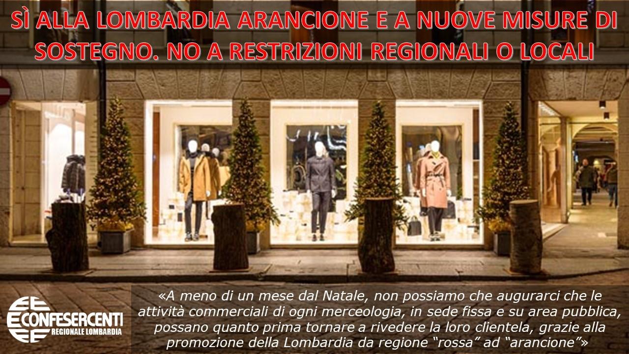 """Confesercenti Lombardia: """"Si alla Lombardia arancione e a nuove misure di sostegno. No a restrizioni regionali o locali"""""""