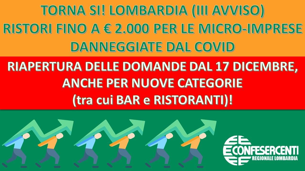 """Confesercenti Lombardia, torna """"SI! LOMBARDIA"""": fino a € 2.000 per le micro-imprese danneggiate dal Covid-19"""