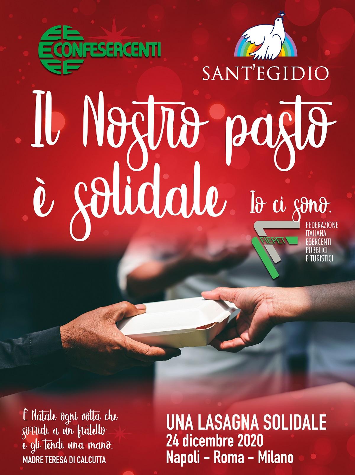 Solidarietà: Confesercenti e Fiepet donano 6500 pasti caldi a Sant'Egidio a Napoli, Roma e Milano