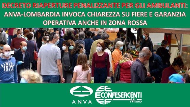Confesercenti Lombardia, Anva: decreto riaperture penalizzante per gli ambulanti