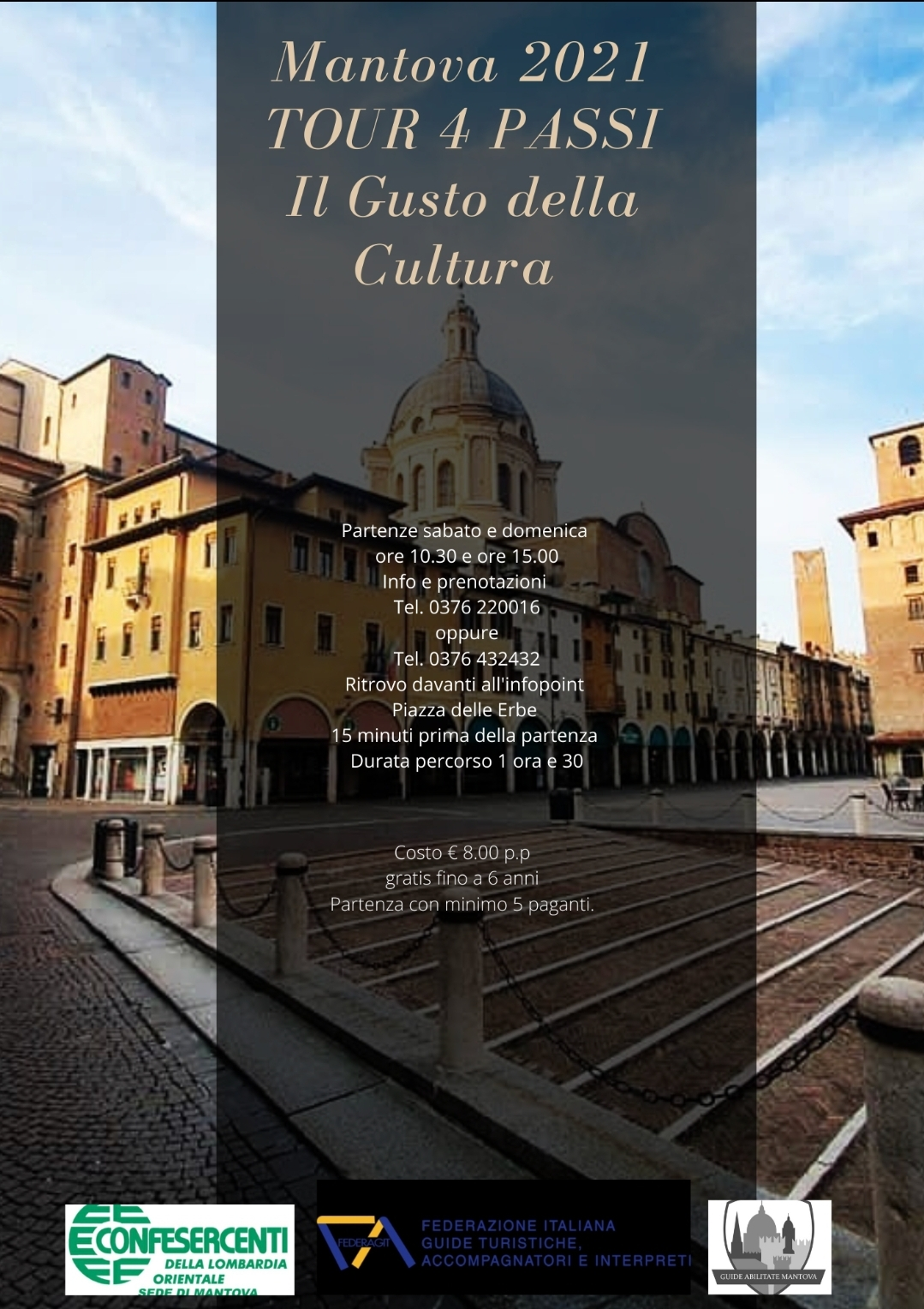 """Confesercenti Lombardia Orientale, Mantova: con il 1 maggio ripartono I tour """"4Passi in Centro Storico: Il Gusto della Cultura """""""