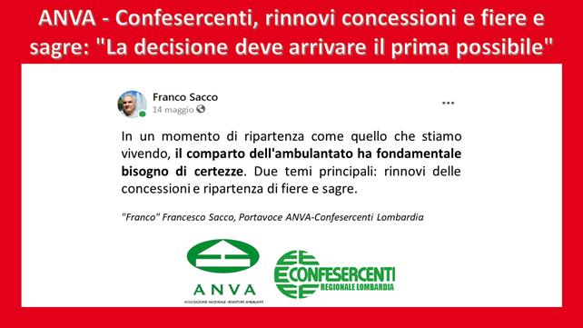 """Anva Confesercenti Lombardia, rinnovi concessioni e fiere: """"La decisione deve arrivare il prima possibile"""""""