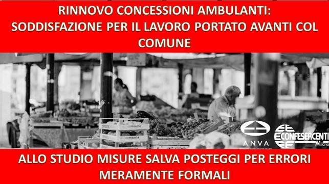 """Confesercenti Milano: """"Rinnovo concessioni ambulanti: soddisfazione di Anva per il lavoro portato avanti col Comune. Allo studio misure salva-posteggi per errori meramente formali"""""""
