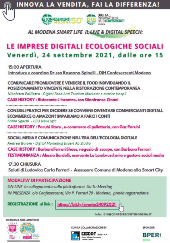 """Confesercenti Modena, Smart Life: """"Impresa digitale, ecologica, sociale"""" l'iniziativa di Digital Innovation Hub Confesercenti aperta al pubblico con esperti del digitale e marketing"""