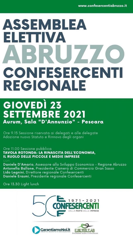 Confesercenti Abruzzo: confermato Daniele Erasmi alla guida per i prossimi quattro anni e Lido Legnini Direttore